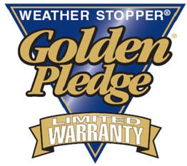 GAF Golden Pledge specification provides a 25 year workmanship warranty and a 50 year non-prorated workmanship warranty including a 130 mph wind warranty.